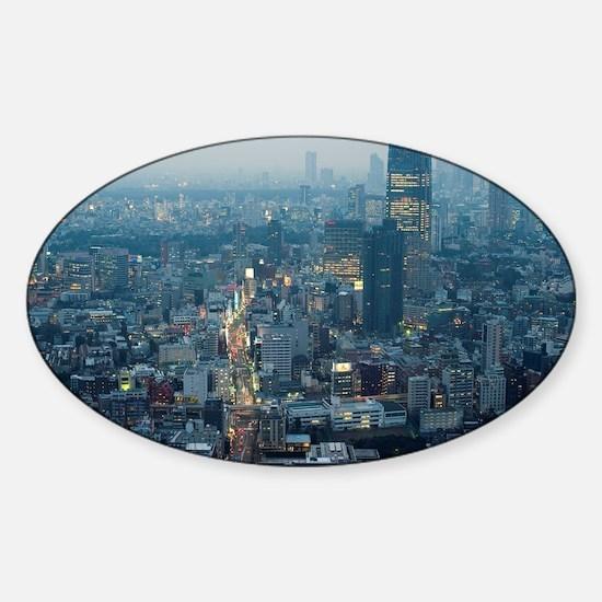 tokyo after sunset Sticker (Oval)