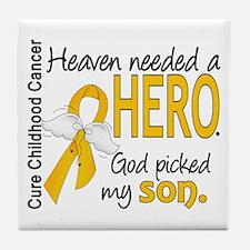 Childhood Cancer HeavenNeededHero1 Tile Coaster