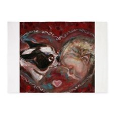 Boston Terrier Kisses Baby 5'x7'Area Rug