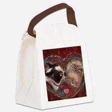 Boston Terrier Kisses Baby Canvas Lunch Bag