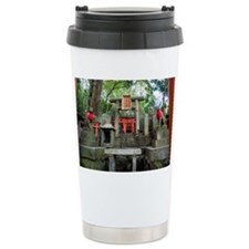 kitsune and stone altar Travel Coffee Mug