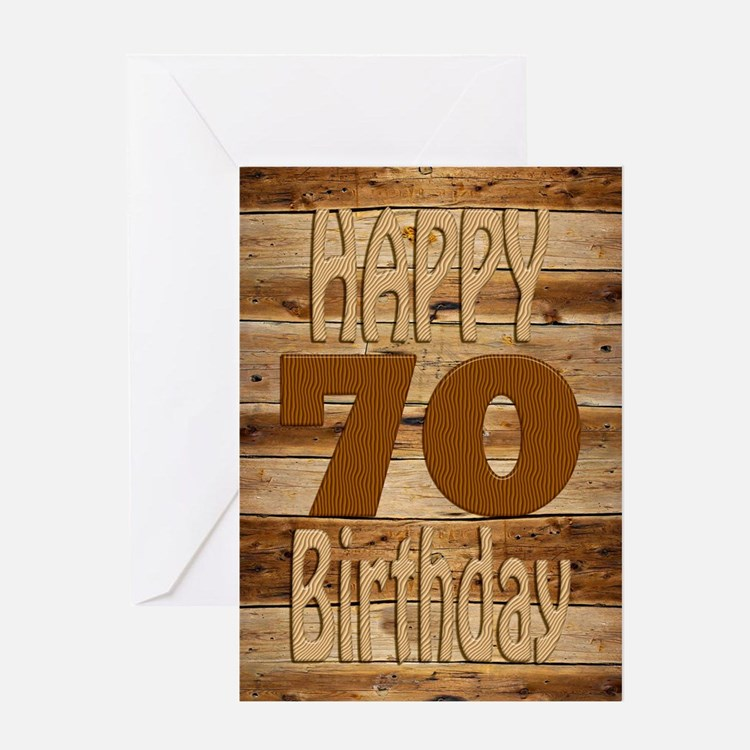 70th Birthday A carved wooden card. Greeting Cards
