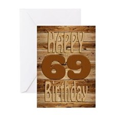 69th Birthday A carved wooden card. Greeting Cards