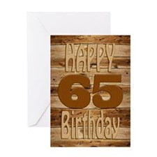 65th Birthday A carved wooden card. Greeting Cards