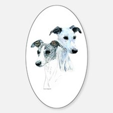 Whippet Pair Oval Bumper Stickers