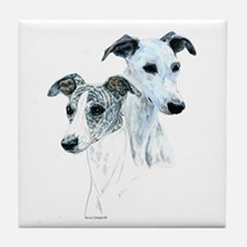 Whippet Pair Tile Coaster