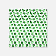 "I love Green Owls Square Sticker 3"" x 3"""