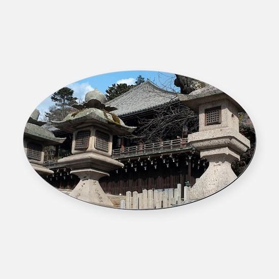Nigatsu-do Stone Lanterns Oval Car Magnet