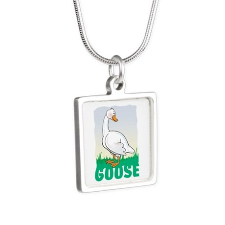 Kid Friendly Goose Silver Square Necklace