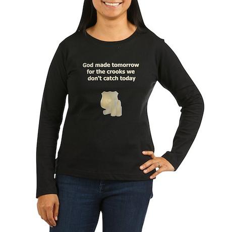 Police Officer Women's Long Sleeve Dark T-Shirt
