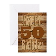 50th Birthday A carved wooden card. Greeting Cards