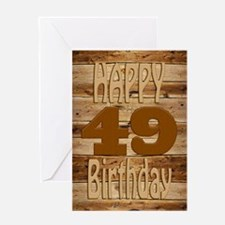 49th Birthday A carved wooden card. Greeting Cards