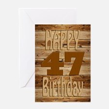 47th Birthday A carved wooden card. Greeting Cards