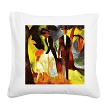 August Macke - People by the  Square Canvas Pillow