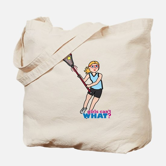 Girl's Lacrosse - Light/Blonde Tote Bag