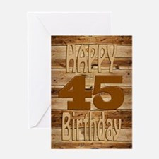 45th Birthday A carved wooden card. Greeting Cards