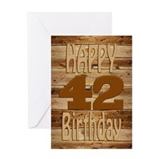 42nd Birthday A carved wooden card. Greeting Cards