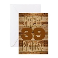 39th Birthday A carved wooden card. Greeting Cards