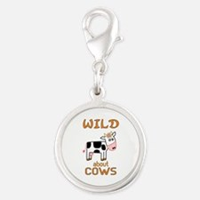 Wild About Cows Silver Round Charm