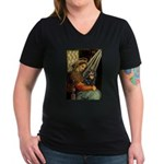 Madonna & Cavalier (BT) Women's V-Neck Dark T-Shir