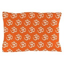 Om, Ohm, Yoga, ORANGE Pillow Case