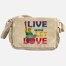 Live Let Love Statue of Liberty Messenger Bag