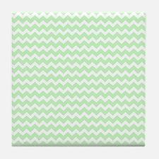 Mint White Chevron Pattern Tile Coaster