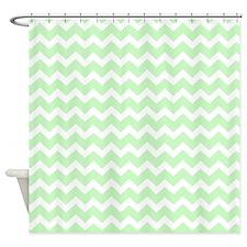 Mint White Chevron Pattern Shower Curtain