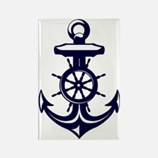 Antique Navy Blue Anchor Rectangle Magnet