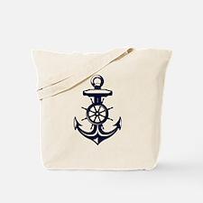 Antique Navy Blue Anchor Tote Bag