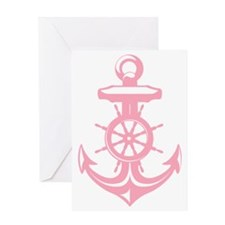 Pink Antique Anchor Greeting Card