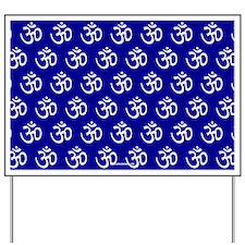 Om, Ohm, Yoga, ROYAL BLUE Yard Sign
