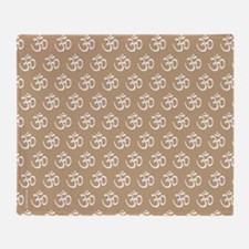Om, Ohm, Yoga, TAN Throw Blanket