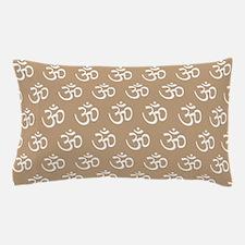 Om, Ohm, Yoga, TAN Pillow Case