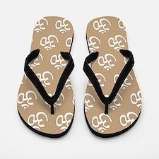 Om, Ohm, Yoga, TAN Flip Flops