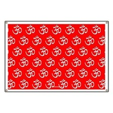 Om, Ohm, Yoga, RED Banner