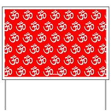 Om, Ohm, Yoga, RED Yard Sign