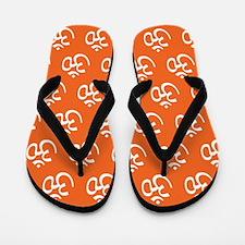 Om, Ohm, Yoga, ORANGE Flip Flops