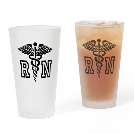 RN Nurse Caduceus Drinking Glass