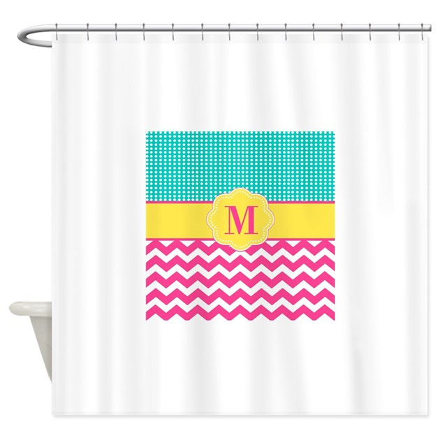 Pink Teal Chevron Monogram Shower Curtain by ...