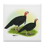 Black Turkeys Tile Coaster