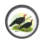 Black Turkeys Wall Clock