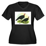 Black Turkeys Women's Plus Size V-Neck Dark T-Shir