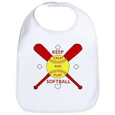 Keep Calm and Play Softball Original Bib