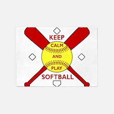 Keep Calm and Play Softball Original 5'x7'Area Rug