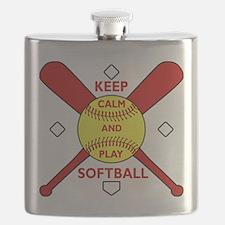 Keep Calm and Play Softball Original Flask