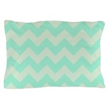 Mint Chevron Pillow Case