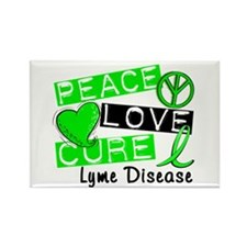 Lyme Disease PeaceLoveCure1 Rectangle Magnet
