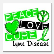 "Lyme Disease PeaceLoveCu Square Car Magnet 3"" x 3"""