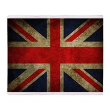 Vintage Grunge Union Jack UK Flag Throw Blanket